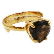 《大きめストーン:フリーサイズ ファッションリング指輪/ファランジリング》 スモーキークォーツ