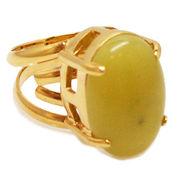 《大きめストーン:フリーサイズ ファッションリング指輪/ファランジリング》 オリーブジェイド