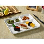 【強化】 ランチプレート(三つ仕切り長方形)(浅め)   おうちカフェ/仕切り皿//白食器