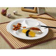 【強化】 ランチプレート(桃型3つ仕切り)   おうちカフェ/仕切り皿//白食器