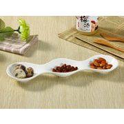 【強化】 3連前菜皿(12号)   変形皿/おうちカフェ/フレンチ皿/白食器