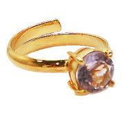 《大きめストーン:フリーサイズ ファッションリング指輪/ファランジリング》 ライトアメジスト(Amethyst)