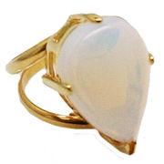 《大きめストーン:フリーサイズ ファッションリング指輪/ファランジリング》 合成ムーンストーン