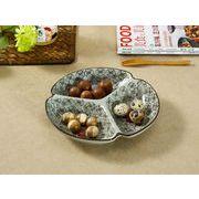 【強化】 8.5号三つ仕切り皿(赤い椿)    おうち料亭/中皿/大皿/丸皿/和食器/仕切り皿