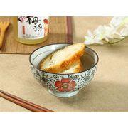 【強化】 4.5号ご飯茶碗(赤い椿)    おうち料亭/茶碗/お茶漬け/ごはん茶碗/