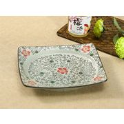 【強化】 9.5号長方形皿(赤い桜)    おうち料亭/中皿/大皿/丸皿/長皿/角皿和食器
