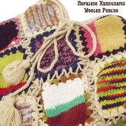ネパールから届いた手編みのウールニットポンチョ♪フォークロア調ウールニットパッチワークポンチョ