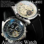 【ケース・保証書付】革ベルト 自動巻 DAY&DATE ビッグフェイス&インナーベゼル 腕時計☆JA-14001
