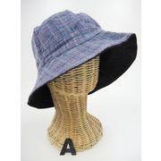 【春夏新作】綿リバーシブル帽子♪チェック柄手織り綿、ハンドクラフト木綿カジュアルハット♪1026