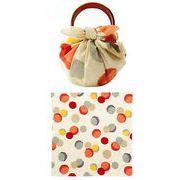 【ご紹介します!安心の日本製!70 綿モダンガール いちごバッグ(リング付・袋入)】水玉 ベージュ