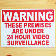 アメリカン雑貨 看板 プラスチックサインボード 24時間監視中 Warning/24 Hour Video Surveillance CA-02