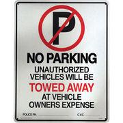 アメリカン雑貨 看板 プラスチックサインボード(Lサイズ) No Parking(Towed Away) CA-L01