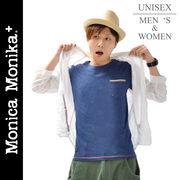 Monica Monika+ コットン100%無地ポケット付きシンプルTシャツ