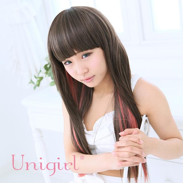 【ユニガール】サラサラスイートなピンクメッシュレイヤー♪『ストレートストロベリーメッシュ』