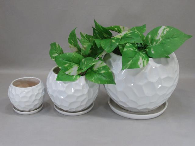 陶器植木鉢3点セット(受皿付)【モノトーン・ロックカット】
