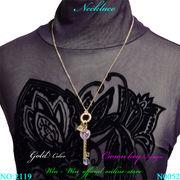 ネックレス ラインストーン付クラウンキーザインのレディ-スファッションネックレス