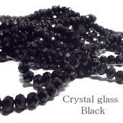 クリスタルガラス ビーズ ボタンカット ブラック 連売り 《SION パワーストーン 天然石》