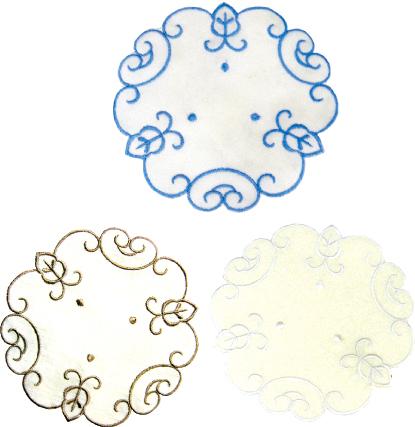 刺繍コースター(丸型2P) 124-01