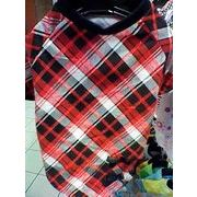 セール☆人気の格安犬服☆ 半そで赤黒チェックTシャツ