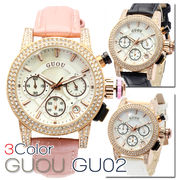 【クロノグラフ搭載】煌びやかなラインストーンベゼル レディース 腕時計 GU02