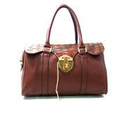 レザーボストンバッグ トートバック カバン 鞄 セレブ系 クロコ柄 ブラウン