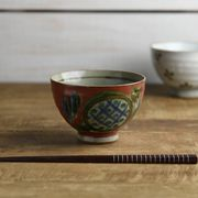 【特価品】11.3cm赤土の手書き茶わん 赤絵[B品][美濃焼]