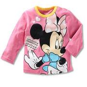 ディズニー ミニーマウス薄手長袖Tシャツ 90cm~130cm 綿100%