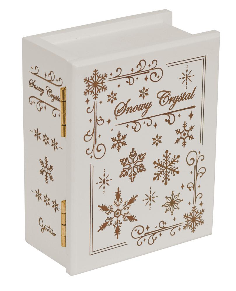 【 木製ブック型オルゴール(雪の結晶) ♪Let It Go  】