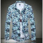 シャツオシャレ カジュアル シンプル花柄シャツ 襟付 長袖リネン 綿麻メンズ 大きいサイズ