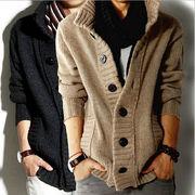 メンズ ニット/カーディガン ニットセーター コート  スタンドカラー 4色揃い