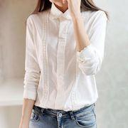 森ガール シャツ  無地  ホワイト レディースシャツ  女性 可愛い 新作