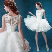 ウエディングドレス 豪華なミニドレス 宴会/パーティー/二次会 司会者 刺繍  結婚式