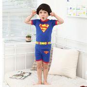 プリントパジャマ半袖&短パン(スーパーマン)90cm~130cm 春夏 薄手綿100%