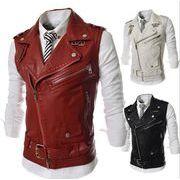 メンズレザーベスト  ジャケット  皮コート   ジップアップ   カジュアル  立ち襟ハーフ丈  紳士服