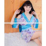 即納 紫×ライトブルー 浴衣 コスプレ 着物ドレス sexy ハロウィン コスプレ