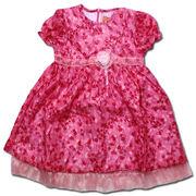 ピンクドールキラキラ輝くシフォンの花柄ワンピース(濠Du)ピンク 95cm
