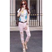 【初回送料無料】ロマンチックファッション七分丈パンツ◆ホワイト/ピンク2色♪too-zb8071-203