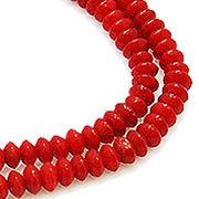 【在庫限り】天然石 ビーズライン 卸売  /シーバンブー・海竹珊瑚 赤色・レッド ロンデルビーズ