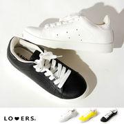 春新作 レザータッチスニーカー【即納】靴 スニーカー 紐靴 キャンバス レディース