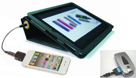 iPadカバー兼マルチ充電器 e-cover しかも充電池は6600mAhの大容量!!4種の変換アダプタ付
