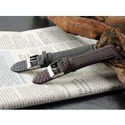 【腕時計 交換用ベルト】本革カーフレザー・クロコ型押し・替えベルト[20mm・22mm×2色] PLCMB20