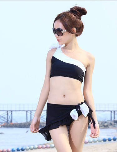 【即納】ビキニ/ミニスカート付き/水着3点セット/ワンピース水着/水着レディース