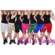 7カラー♪ダンサー必見!! 裾絞りスパンコールハーフパンツ