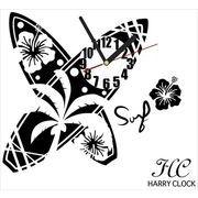 HARRY CLOCK ウォールステッカー 時計付き サーフボード (surfboard) ブラック 約45×45cm