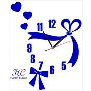 HARRY CLOCK ウォールステッカー 時計付き 転写式 リボンのクロック (ribbon wall clock) ネイビーブルー