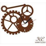 HARRY CLOCK ウォールステッカー 時計付き 貼ってはがせる 転写式 mechanism (からくり) ブラウン