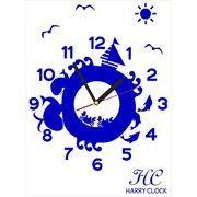 HARRY CLOCK ウォールステッカー 時計付き 広い海と動物たち (animals&sea) ネイビーブルー 約45×45cm
