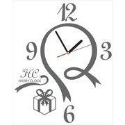 HARRY CLOCK ウォールステッカー 時計付き 転写式 リボンデザインの壁時計 (ribbon walll clock) グレー