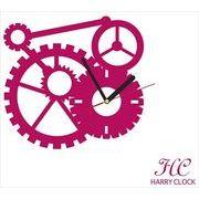 HARRY CLOCK ウォールステッカー 時計付き 貼ってはがせる 転写式 mechanism (からくり) ピンク