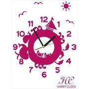 HARRY CLOCK ウォールステッカー 時計付き 貼ってはがせる 転写式 広い海と動物たち (animals&sea) ピンク
